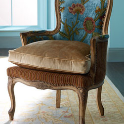 "Old Hickory Tannery - ""Darra"" Teal Chair - Luxurious and beautiful, the ""Darra"" Teal chair showcases a hand-embroidered design on its upholstered teal back.  A down-filled cushion offers cozy comfort. 27""W x 28.5""D x 36""T. Seat is 21""W x 20""T. Arm height, 24.5""."