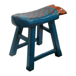 Golden Lotus - Eclectic Blue Orange Color Fish Wooden Stool - This is a wooden stool made into fish shape seat top and painted with blue & orange lacquer color.