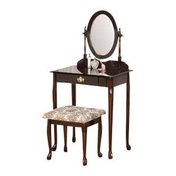 "ADAD526-ESP - 3-Piece Espresso Finish Wood Vanity Set with Vanity Table, Mirror and Bench - 3-piece espresso finish wood vanity set with vanity table, mirror and bench. Includes vanity table measuring 28"" x 16"" x 50.5"". Including mirror, vanity stool measuring 18"" x 14"" x 17.25"". Some assembly is required."