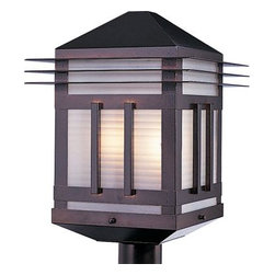 Maxim Lighting - Maxim Lighting 8725PRBU Gatsby 2-Light Outdoor Pole/Post Lantern in Burnished - Gatsby is a traditional, craftsman/mission style collection from Maxim Lighting International in two finishes, Burnished or Pewter, with Prairie Rib Frost glass.