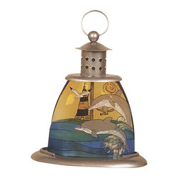 """Iron Double Dolphin Candle Holder - The iron double dolphin candle holder measures 10"""" x 7.75"""". It is made of cast iron  has a beautiful double dolphin on the water scene displayed on the body of the candle holder. It will add a definite nautical touch to wherever it is placed and is a must have for those who appreciate high quality nautical decor. It makes a great gift, impressive decoration and will be admired by all those who love the sea."""