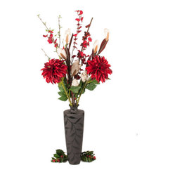 The Firefly Garden - A Heart in Winter - A Heart in Winter stands tall with Ginger, Dahlia, and Oncidium blooms reaching upward from an black, etched-leaf vase. Inspired by the famous French film of the same name, passion unfolds in this arrangement, warming your heart and home during the cold Winter season.