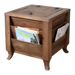 Uttermost Rimmon Wooden Side Table - Made of reclaimed fir wood that has been sun faded and weathered over time, this storage cube creates order with magazine slots around the outside, and concealed space inside.  Top opens with a metal ring pull and safety hinge. Made of reclaimed fir wood that has been sun faded and weathered over time, this storage cube creates order with magazine slots around the outside and concealed space inside. Top opens with a metal ring pull and safety hinge.
