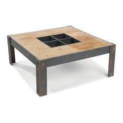 Moe's Home Collection - Moe's Home Bolt Square Coffee Table in Natural - Industrial coffee table with unique design.