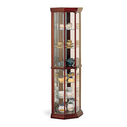Coaster - Cherry Traditional Curio - Solid wood cherry finish glass corner cabinet.