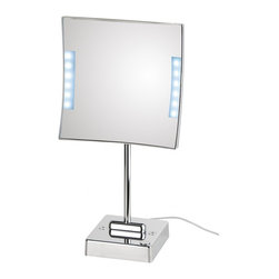WS Bath Collections - Quadrololed Lighted Magnifying Makeup Mirror 3x - Quadrololed 62-1 x3 by 7.9 x 7.9 x 16.2, Free Standing Magnifying Mirror with LED Light, External Power Supply with Plug in Chromed Plated Brass Structure and Frame in Chromed Plated Abs, External Power Supply with Plug, LED Light, Free Standing, Free of Distortions, Made in Italy