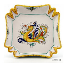 Artistica - Hand Made in Italy - RAFFAELLESCO: Square fancy bowl - RAFFAELLESCO Collection: Among the most popular and enduring Italian majolica patterns, the classic Raffaellesco traces its origin to 16th century, and the graceful arabesques of Raphael's famous frescoes.