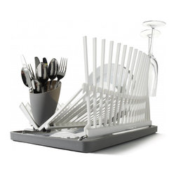 Apt2B - Black + Blum Modern Dish Rack, White - Dish racks are often a necessary eyesore, but this beauty actually blends form and function. Not only does it hold an array of dishes and fold down when not in use, it also looks good enough that you'll actually want to keep it on your counter.