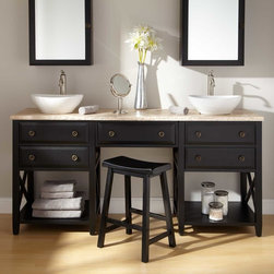 """72"""" Clinton Double Vessel Sink Vanity with Makeup Area - Black - The 72"""" Clinton Double Vanity features a sophisticated Black finish and features a makeup area that lets you beautify yourself and your master bath."""
