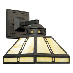 Progress Lighting - Progress Lighting P2900-46 Arts & Crafts Reversible Wall Sconce with Light Honey - Inspired by the earthy palette and geometric shapes of Frank Lloyd WrightFeatures: