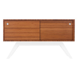 Eastvold Furniture - Elko Credenza Small, Bamboo, White Base - It might look like a prized midcentury collectible, but this credenza is custom-crafted in Minnesota in your choice of base colors. Reinforced mitered joints allow the bamboo grain to wrap the exterior in a continuous sweep, while adjustable shelves and wire chases inside offer flexible storage for the den, dining room or office.