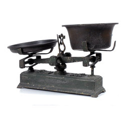 Consigned Antique Cast Iron Balance Scale - Green with Dark Pans - This rustic green two-pan cast iron balance scale is perfect on its own or as a display for other items. We love the look of these, somewhere between industrial and French Farmhouse. This one has great dark metal pans!