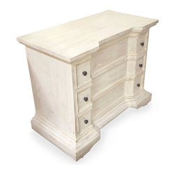 Spanish Tall Chest - White Washed - Ogee bracket feet support the full-width drawers of this unconventional breakfront chest, a unique and handsome mahogany piece crowned in traditional molding with a base of the same. With a central dip drawing the eye to the attractive element of unbroken wood panels, the Spanish design has simple hardware placed to the outside of each drawer for a smooth pull. Beautifully mitered corners maintain a smooth look in the unusual shape.