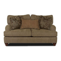 Klaussner - Parchment Color Upholstered Loveseat with Low Profile Arms, Bun Feet - Elegant and classic style. Attractive low profile rolled arms. Welt details. Wood bun feet. Four pillows plus a lumbar pillow. 74 in. L x 42 in. D x 35 in. H
