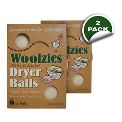 Soft By Nature - Woolzies Dryer Balls, Box of 6, 2 Pack - Go green and spend less time in the laundry and dryer room knowing that you will have the perfect set of laundry with Woolzies 100% Wool Dryer Balls, 6-pack set, or the 3-pack set. Woolzies Dryer Balls are expected to last for at least 1,000 laundry loads and are made from 100% hypoallergenic hand-spun wool to help save time, money, and stress on the environment by eliminating the need for harmful conventional fabric softeners, plastic dryer balls, and dryer sheets. Not only do the dryer balls reduce large load and small load drying times up to 25% and 40% respectively, but they also reduce electrical, gas, and appliance usage. Your wallet is not the only thing benefiting from the dryer balls as they also reduce clothing damage from unnecessary additional dryer time and exposure to fabric softeners, plastic dryer balls, and dryer sheet chemicals. Woolzies Dryer Balls speed up the drying process by bouncing around and between your clothing allowing for better hot air flow so all your clothes are thoroughly dried. Dry your clothes knowing that the Woolzies Dryer Balls are good for the earth, good for the family, good for the future, good for your dryer, and good for future generations.