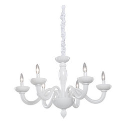 Artcraft - Milk Glass Six-Light White Chandelier - - Cobi Ladner revives a classic design with a new twist. The Milk Glass collection is coated in a luxurious white finish. The entire frame and arms are made of high quality glassware. Comes as shown with a matching white chain cover to give that little extra value. This is a 6 light chandelier (12 light two tier also available CL1812)  - Width - 29  - Height - 19 Artcraft - CL1806