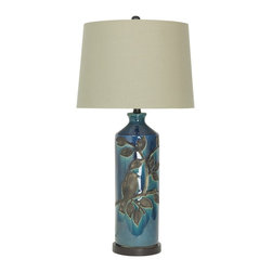 "Lamps Plus - Traditional Bastian Reactive Blue Ceramic Table Lamp - Delightful floral table lamp. Reactive blue glaze with floral pattern. Natural shade. Bronze finish base and accents. Ceramic and metal construction. Round base. Three-way switch. Takes one maximum 150 watt 3-way or equivalent bulb (not included). 31"" high. Shade is 14"" wide on top 16""wide on the bottom and 11"" high. Base is 6 1/4"" wide.   Delightful floral table lamp.  Reactive blue glaze with floral pattern.  Natural shade.  Bronze finish base and accents.  Ceramic and metal construction.  Round base.  Three-way switch.  Takes one maximum 150 watt 3-way or equivalent bulb (not included).  31"" high.  Shade is 14"" wide on top 16""wide on the bottom and 11"" high.  Base is 6 1/4"" wide."