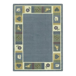 Joy Carpets Baby Blues Area Rug - Give Baby's first bedroom a sweet and classic feel with the Baby Blues Carpet. Soothing blues and yellows and friendly animals will delight Baby and add that perfect decorative touch. This carpet is ideal for the nursery or the baby-themed retail store.Sizes available3 feet 10 inches x 5 feet 4 inches5 feet 4 inches x 7 feet 8 inches5 feet 4 inches x 7 feet 8 inches (oval)7 feet 8 inches x 10 feet 9 inchesThis carpet features SoftFlex backing which is an air-texturized polypropylene secondary backing that's designed to withstand the most demanding situations. SoftFlex is woven tightly yet is still extremely flexible which helps eliminate wrinkles and provide superior protection and insulation underfoot.JoyTuff carpets are Stainmaster-protected and ideal for home or office use. They are constructed from Stainmaster BCF Type 6 6 two-ply nylon and feature advanced protection against stain and soil as well as Impervion mold and mildew protection. This carpet is bound and serged for maximum durability and features a SoftFlex back plus a Class I Flammability rating. To maintain simply vacuum regularly and use hot water extraction cleaning as required.This carpet includes the following warranties:Lifetime limited wear warrantyLifetime limited antimicrobial protectionLifetime limited static protection10-year limited dual technology soil and stain protectionDedicated to Environmental StewardshipJoy Carpets understands the importance of environmental stewardship and its relationship to a successful business. We are committed to operating our facilities in an environmentally sustainable manner and in a manner that protects the health and safety of our associates and the public.Our environmental commitment is driven by a holistic approach to sustainable operations not simply focusing on recycling alone. Joy Carpets reaches beyond recycling in an effort to reduce our company's environmental footprint. Our vision and progress to achieving the goal of full sustainability focuses on the following:Environmentally friendly productsReview of our products' supply chainExtending product life cycleUse of recycled packagingReducing waste to landfillReducing energy consumption and water usageUse of alternative energy sources'No carpet to landfill' commitmentRecycling carpet into new productsDonating carpet for charitable re-useAdditionally Joy Carpets is committed to establishing a strong foundation of environmental values with our families associates and communities to ensure the long-term conservation of our earth's natural resources.About Joy CarpetsJoy Carpets is the leader in specialty broadloom modular carpet Carpets and mats in creative and eye-catching designs. Joy takes pride in providing first-rate floor coverings for residential educational hospitality healthcare and commercial markets. The pioneer of fine gauge tufting Joy Carpets introduced the first recreational carpeting to the industry in 1973 and since that time has been known for their commitment to cutting edge technology and design. Joy Carpets are proudly made in the United States and sold worldwide. Choose Joy Carpets for superior service and unique fun products that enhance your decor and give you fantastic flooring in an instant.