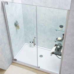 BathAuthority LLC dba Dreamline - Elegance Frameless Pivot Shower Door and Slim Line Single Threshold Shower Base - This dream line shower kit combines an Elegance pivot shower door with a coordinating slim line shower base. The Elegance pivot shower door delivers a fresh modern look with a frameless glass design, while adjustable installation features provide a perfect fit. A slim line shower base completes the transformation with a modern low profile design. Give your bathroom renovation a touch of Elegance with this efficient bathroom renovation solution.