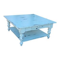 Fable Porch Furniture - Cristo Farmhouse Coffee Table, Midnight-Outer Banks Coastal - Distressed Farmhouse Coffee Table