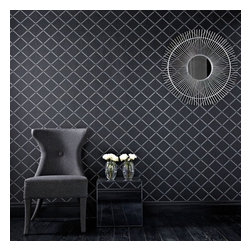 Graham & Brown - Quantum Wallpaper - Black and silver gloss pinstripes and shimmering glitter highlights layer to create this stunning diamond geometric effect wallpaper. A sublime palette confidently grounded in neutrals and monochromes.