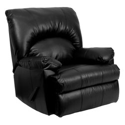 Flash Furniture - Flash Furniture Contemporary Apache Black Leather Rocker Recliner - Whether you choose this Rocker recliner because it has great styling, or because it is a great value, you end up with a winner. The luxurious leather upholstery is soft to the touch and very attractive, and the heavily padded back and head-rest supply extreme comfort. [WM-8500-371-GG]