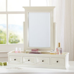 Hannah Beauty Vanity Topper - Transform dresser tops into get-ready spots with this classic design. The beveled mirror pivots, and the four drawers hold makeup and beauty supplies.
