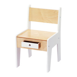OFFI - Mini-Drawer Chair, White - Designed by Roberto Gil, part of the OFFI Mini Drawer and Store Collection. Simple assembly required. Seat height is 11-inches from floor to top of seat.