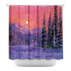 DiaNoche Designs - Shower Curtain Artistic - Rising Snow Moon - DiaNoche Designs works with artists from around the world to bring unique, artistic products to decorate all aspects of your home.  Our designer Shower Curtains will be the talk of every guest to visit your bathroom!  Our Shower Curtains have Sewn reinforced holes for curtain rings, Shower Curtain Rings Not Included.  Dye Sublimation printing adheres the ink to the material for long life and durability. Machine Wash upon arrival for maximum softness on cold and dry low.  Printed in USA.