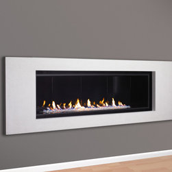 "Halcyon Linear Direct Vent Fireplace - The modern linear 52"" Halcyon gas fireplace is stunning in its simplicity and contemporary clean lines.  For those modern spaces where a 4 foot or 6 foot gas fireplace is desired, the Halcyon is a perfect fit.  Top mounted halogen lights, an easy natural flame and clean finishing makes this fireplace a decorator's dream.  Superior quality with attention to detail shows that the Halcyon gas fireplace, made in US by European Home, will give the homeowner years of enjoyment."