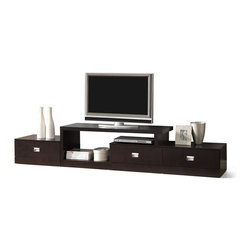 "Baxton Studio - Baxton Studio Marconi Brown Asymmetrical Modern TV Stand - Ideal for an extra-long wall, our versatile Marconi TV Stand is a marvel of what superior function and style can do together! Three drawers paired with ample open shelving and top surface space give plenty of options for storing electronics components or displaying your favorite decor.  The modern entertainment stand is made of mixed engineered woods with dark brown faux wood grain paper veneer and silver drawer pulls.  Malaysian-made, this contemporary TV stand requires assembly and should be dusted clean with a dry cloth.                                                                                                       ' Product dimension: 94.3""W x 17.75""D x 18""H, 'dimension for TV stand space:47""Wx 17.75""D x 18""H 'Drawers(3) dimension: 20.1""W X 15.1""D X 5""H  'Open compartment dimension : Left 22""W x 17.5""D x 13""H, Right:20""W x 17.5""D x 5""H"