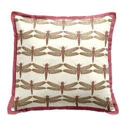 Pink Dragonfly Tailored Throw Pillow - Loom Decor Tailored Throw Pillow in Wilder-Wing & Breezy Linen - Rose