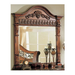 Yuan Tai - Nicholas Rectangular Beveled Mirror in Cherry Finish - Traditional style. Carved arch top. Scalloped motif and elegant arched top. Warranty: Six months limited. Made from solid and wood veneers. Assembly required. 51 in. W x 53 in. H (79 lbs.)