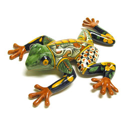 """Talavera Wall Frog - These adorable, colorful talavera ceramic frogs will add a whimsical touch to any room, entryway or patio. Handcrafted and painted by Mexican talavera artisans. Visit our website for more. Your item(s) will likely vary in design and color pallet as each one is unique. Med: 15"""" x 14"""" x 4"""" • Lrg: 19"""" x 25"""" x 4"""" Free Shipping in Continental U.S."""