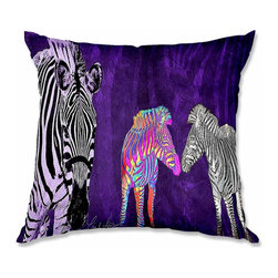 DiaNoche Designs - Pillow Woven Poplin - Lisa K. Stokes Zebra Wild - Toss this decorative pillow on any bed, sofa or chair, and add personality to your chic and stylish decor. Lay your head against your new art and relax! Made of woven Poly-Poplin.  Includes a cushy supportive pillow insert, zipped inside. Dye Sublimation printing adheres the ink to the material for long life and durability. Double Sided Print, Machine Washable, Product may vary slightly from image.