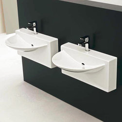 ArtCeram - ArtCeram | One Shot Wall Washbasin - Made in Italy by Art Ceram.A part of the One Shot Collection. The uniquely modern shape of the One Shot Wall Washbasin will create an instant focal point in luxury bathrooms. This fluid piece not only provides a striking addition to bathrooms undergoing a remodel, it also provides unwavering functionality for years to come. Made of a durable and stain resistant ceramic construction, this modern sink will withstand the test of daily use. Product Features: