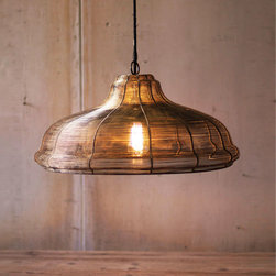 Wire Wrapped Pendant Light - Illuminate your modern home with something a little industrial. Try this Wire Wrapped Pendant Light, which has an elegant black and gold finish that diffuses light and casts a warm glow on any harvest tabletop.