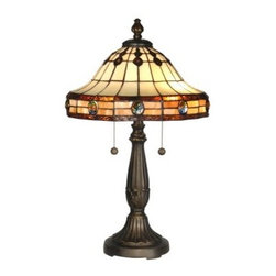 Dale Tiffany Jeweled Mission Table Lamp - A perfect blend of traditional and contemporary, the Dale Tiffany Jeweled Mission Table Lamp features a hand-rolled art glass shade in neutral tones. This lamp has a resin base finished in antique golden sand, and is lit by two 60-watt bulbs (not included).About Dale TiffanyFounded in 1979, Dale Tiffany, Inc. started manufacturing Tiffany-styled lamps and shades, emphasizing high-quality reproductions of Louis Comfort Tiffany's famous designs. Today, using only the highest quality genuine hand-rolled art glass, Dale Tiffany offers an extensive range of designs to comprise the world's foremost collection of fine art glass lighting and home accents. With this hand-crafted process, no two pieces are exactly alike, making each design a treasured keepsake. Dale Tiffany captures the timelessness of America's classic designers while developing unique designs that blend perfectly with today's home fashion trends and lifestyles.