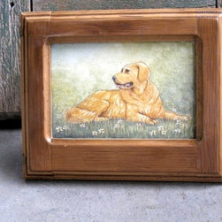 Golden Retriever Hand Painted On Plaque - Made by http://www.ecustomfinishes.com