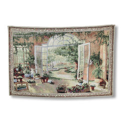 French Doors Garden View Tapestry Wall Hanging - The french doors of a beautiful sunroom are opened up inviting you outside where a lush garden awaits. With a bubbling fountain and lush greenery, you can almost hear the birds singing! Hang this jacquard woven tapestry on the wall and you`ll want to step right through. Beautifully designed and wonderfully crafted, this french doors tapestry would be the finishing touch to your own lush garden room. It measures 39 inches high and 57 inches wide. It is made in the USA using a polyester cotton blend material, and a 100% cotton backing. This tapestry also includes a bottom weight rod. On the back is a three inch pocket at the top to insert your favorite decorative rod (not included). This wall tapestry is sure to bring you peace and serenity with a simple glance. Hang it anywhere you`d enjoy a beautiful garden view.