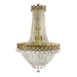 Oriental Furniture - Crystal Drops Chandelier - Luxurious Regency style chandelier constructed using cast bronze and cut glass. Intricate crown style bands feature cut glass jewel insets and dangling crystal pendants. Draped strands of smaller cut glass beads create a light-catching curtain around electric candelabra light bulb sockets. Ring of heavy crystal pendants surround lowest finial. Professional installation recommended.