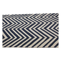 nuLOOM - Contemporary Navy Blue Hand Hooked Area Rug Chevron, Navy Blue, 6' Round - Made from the finest materials in the world and with the uttermost care, our rugs are a great addition to your home.