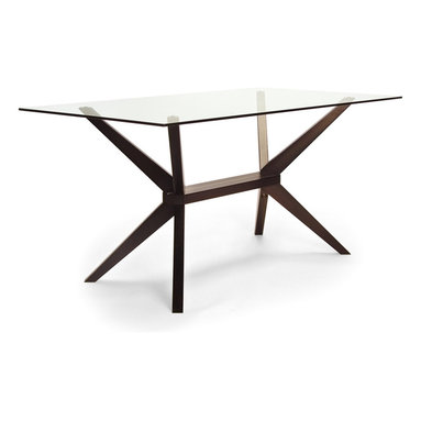 Inmod - Magna Glass Dining Table, Coffee - An elegant glass top and cool geometric bottom combine to make this dining table a graceful addition to your home. But it's not about great looks alone — quality craftsmanship and a solid beech wood base mean it's as sturdy as it is stylish.