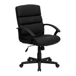 Flash Furniture - Flash Furniture Office Chairs Leather Executive Swivels X-GG-AEL-KB-4001-OG - Affordable leather computer chair will provide you with the comfort needed for browsing the internet. The mid-back design makes it a perfect desk chair especially for smaller work spaces, but still doesn't compromise on its appeal and features. [GO-1004-BK-LEA-GG]