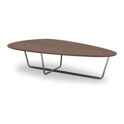 Amy Cocktail Table - The Amy cocktail has a wood veneer top and a stainless steel base.  The classic rounded triangular design of the Amy would compliment any contemporary sofa or sectional.