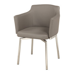 Chintaly Imports - Grey Club Style Swivel Arm Chair (Set of 2) - Club style bucket memory swivel chair. Available in your choice of Black, Brown, Grey, Red, or White Polyurethane. Chrome frame and legs.
