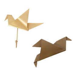 Vintage Maya - Origami Bird Wall Hooks - Why hang your keys, coat or hat on a regular old hook when you can have one shaped like an origami crane? Crafted out of iron covered in matte gold, each one adds even more flair to your home.