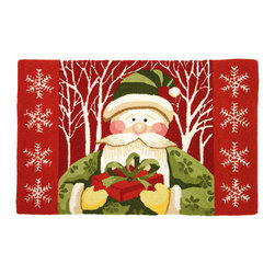 Homefires - Santa In White Forest Rug - A cheerful Christmas presence. How nice to have the Jolly Old Elf himself show up bearing gifts! It doesn't matter if you've been naughty or nice, this handsome rug will bring you years of joy.