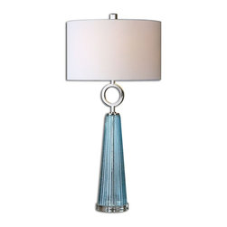 David Frisch - David Frisch Navier Blue Glass Transitional Table Lamp X-1-89672 - Seeded blue glass with a ribbed texture accented with polished nickel plated details. The round hardback shade is a white linen fabric.