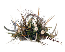 Antler Floral Centerpiece - Large neutral centerpiece with three deer antlers.